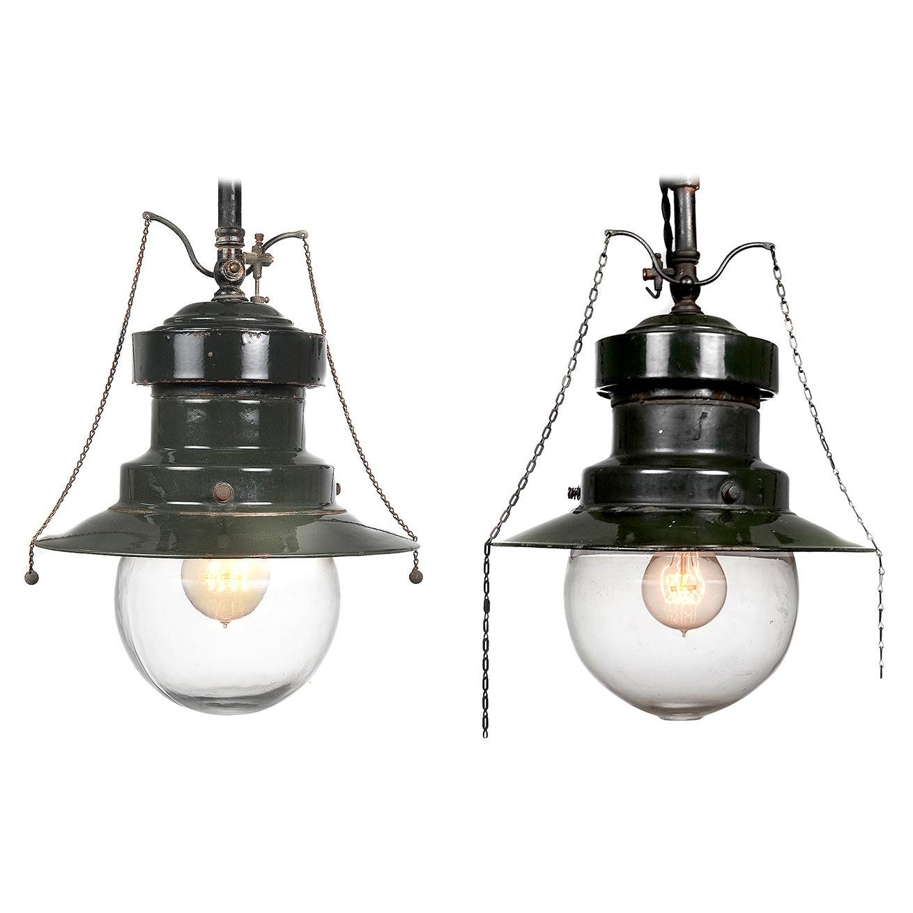 Pair of Mini Electrified Green Porcelain Gas Lamps