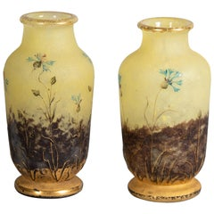 Pair of Miniature Daum Nancy Etched and Enamel Vases, circa 1910