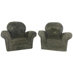 Pair of Miniature Lounge Chair Ceramic Sculptures