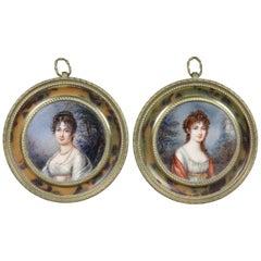 Pair of Miniature Paintings in Faux Tortoise Frames