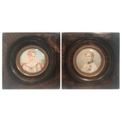 Pair of Miniature Portraits of Napoleon II & Imperatrice Marie Louise of Austria