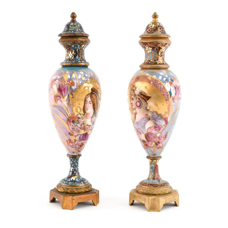 Pair of Miniature Sèvres Porcelain French Urns For Sale 6