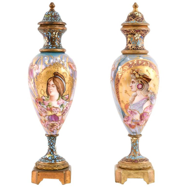 Pair of Miniature Sèvres Porcelain French Urns For Sale