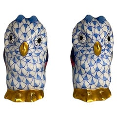 Pair of Miniatures Herend Hand Painted Porcelain Owls