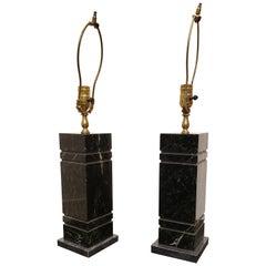 Pair of Minimal Rectangular Black Marble Table Lamps