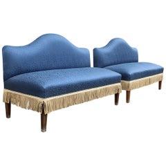 Pair of Minimal Sofà Midcentury Italian Design Cesare Lacca Blu Wavy Backrest