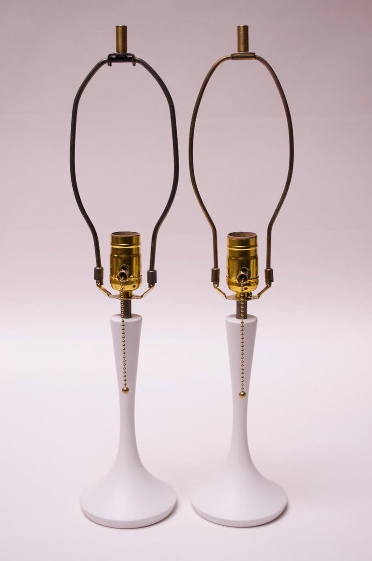 Mid-Century Modern Pair of Minimal Wooden Midcentury Bedside Lamps with Shades For Sale
