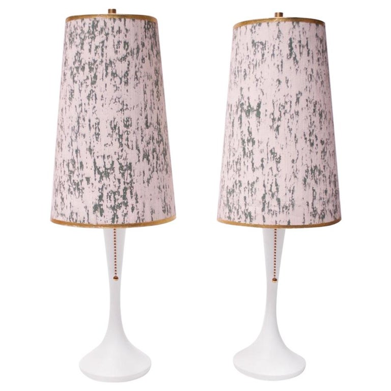 Pair of Minimal Wooden Midcentury Bedside Lamps with Shades For Sale