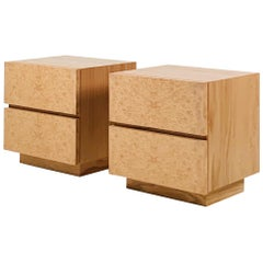 Pair of Minimalist 'Amboine' Burl Wood Nightstands by Design Frères