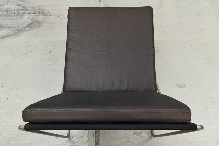 Steel Pair of Minimalist Black Bachelor Chairs by Verner Panton for Fritz Hansen 1960s For Sale