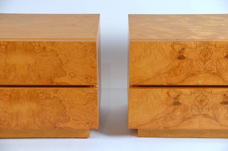 Pair of Minimalist burl wood nightstands by Lane Furniture. Stamped