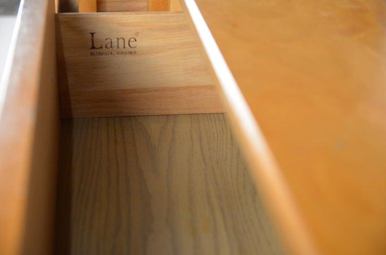 Maple Pair of Minimalist Burl Wood Nightstands by Lane For Sale