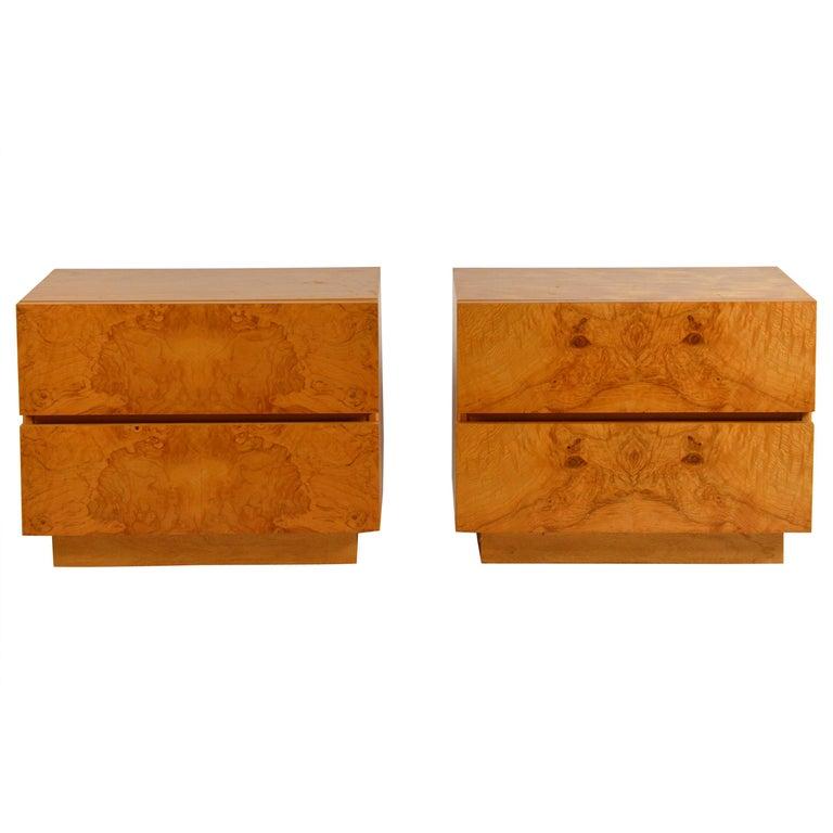 Pair of Minimalist Burl Wood Nightstands by Lane For Sale