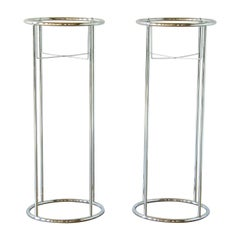 Pair of Minimalist Chrome Plant Stands Tall and Round with Open Framework