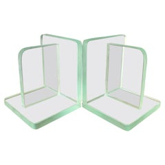 Pair of Minimalist Clear Glass Bookends