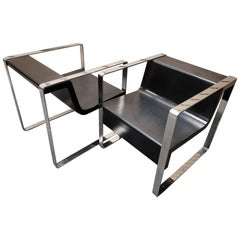 Pair of Minimalist Meeting Point Stainless Steel Lounge Chairs by Cabanes