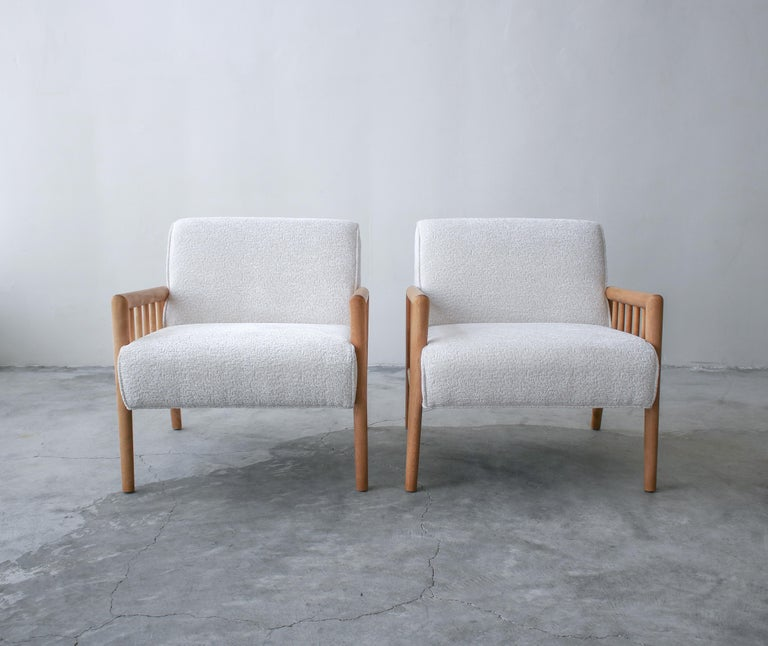 Bouclé Pair of Minimalist Midcentury Lounge Chairs by Conant Ball For Sale