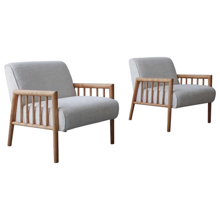 Pair of Minimalist Midcentury Lounge Chairs by Conant Ball For Sale