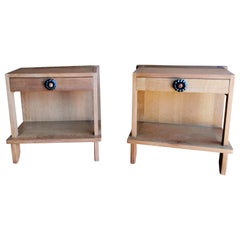 Pair of Minimalist Nightstands by Guillerme & Chambron, France, 1970s