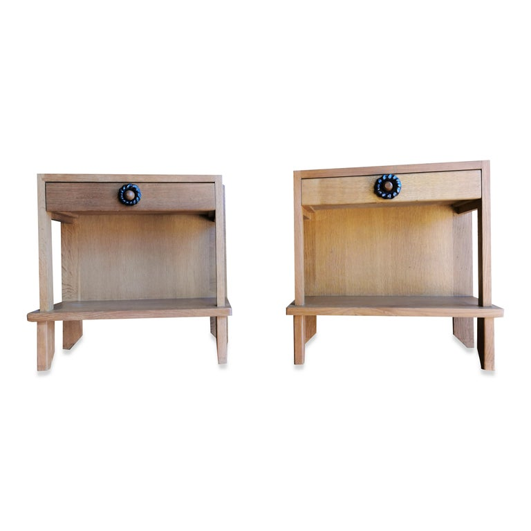 French Pair of Minimalist Nightstands by Guillerme & Chambron, France, 1970s For Sale