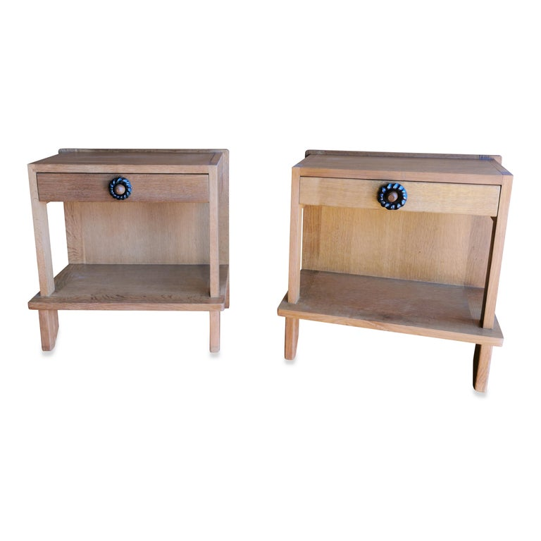 Pair of Minimalist Nightstands by Guillerme & Chambron, France, 1970s In Good Condition For Sale In New York, NY