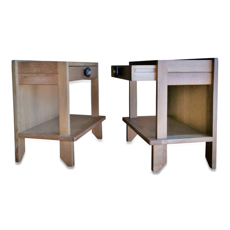 Ceramic Pair of Minimalist Nightstands by Guillerme & Chambron, France, 1970s For Sale