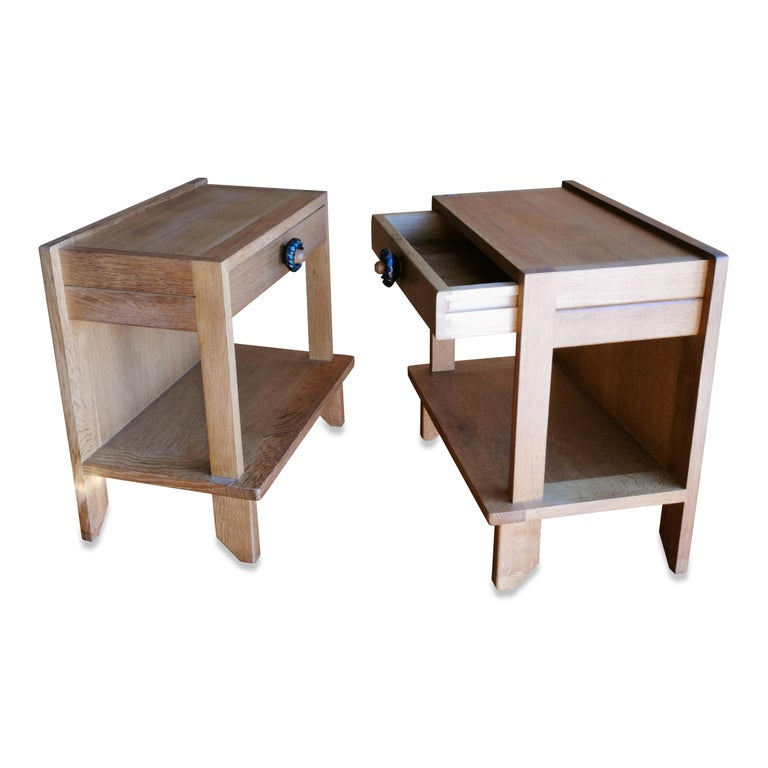 Pair of Minimalist Nightstands by Guillerme & Chambron, France, 1970s For Sale 1