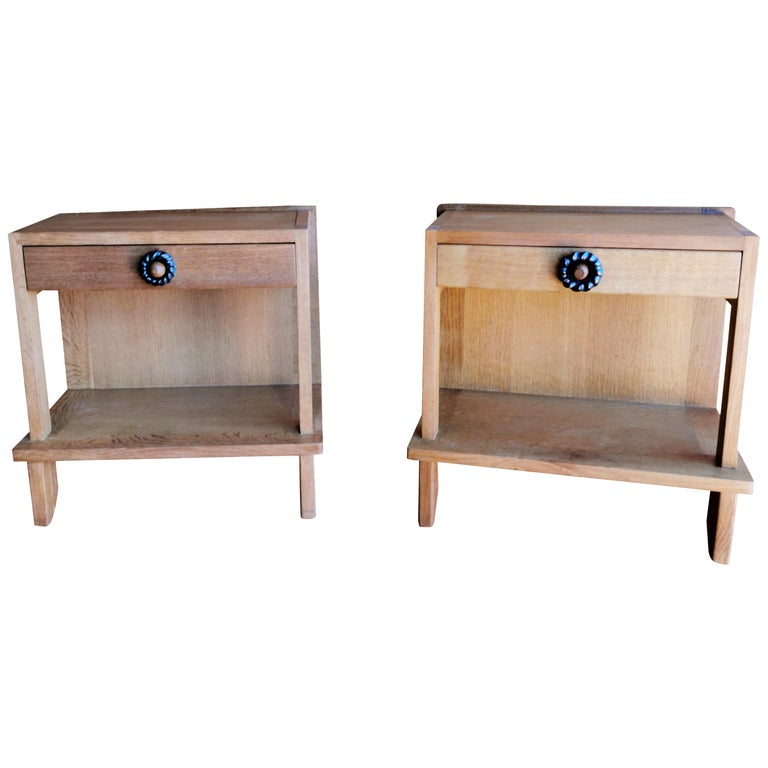 Pair of Minimalist Nightstands by Guillerme & Chambron, France, 1970s For Sale