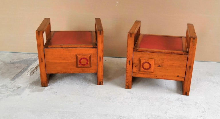 Pair of Minimalist Nightstands in the Style of Charlotte Perriand, 1960s In Fair Condition For Sale In New York, NY