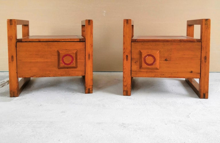 Pair of Minimalist Nightstands in the Style of Charlotte Perriand, 1960s For Sale 2