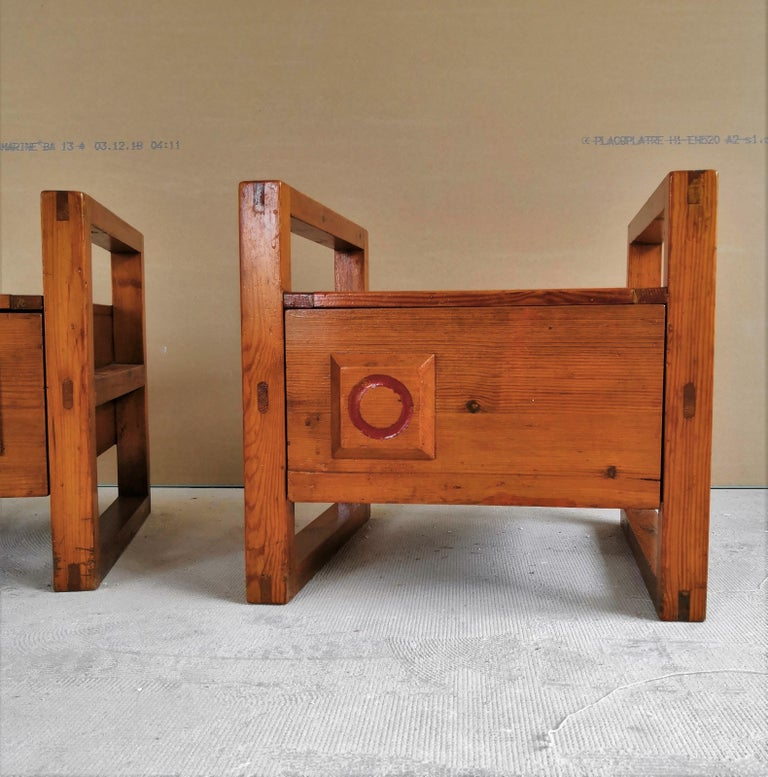 Pair of Minimalist Nightstands in the Style of Charlotte Perriand, 1960s For Sale 3