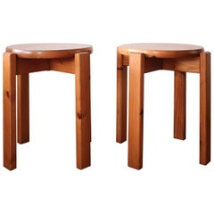 Pair of Minimalist Pine Side Tables or Stools, 1960s