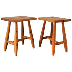Pair of Minimalist Pinewood Stools, France, 1970s