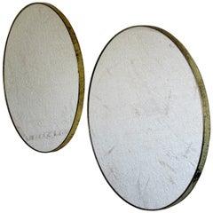 Pair of Minimalist Round Brass Mirrors