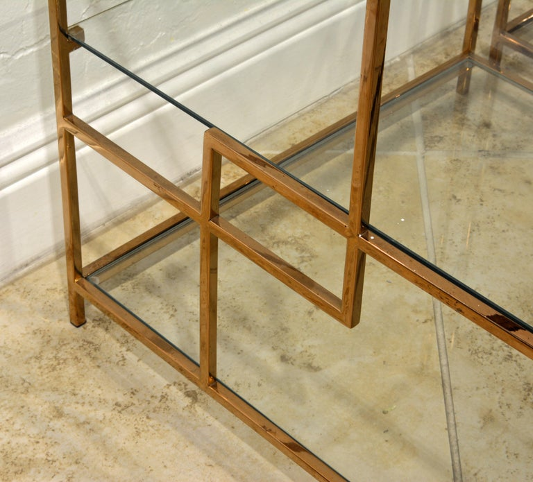 Pair of Minimalist Solid Brass and Glass Piet Mondrian Style Two Step End Tables 4