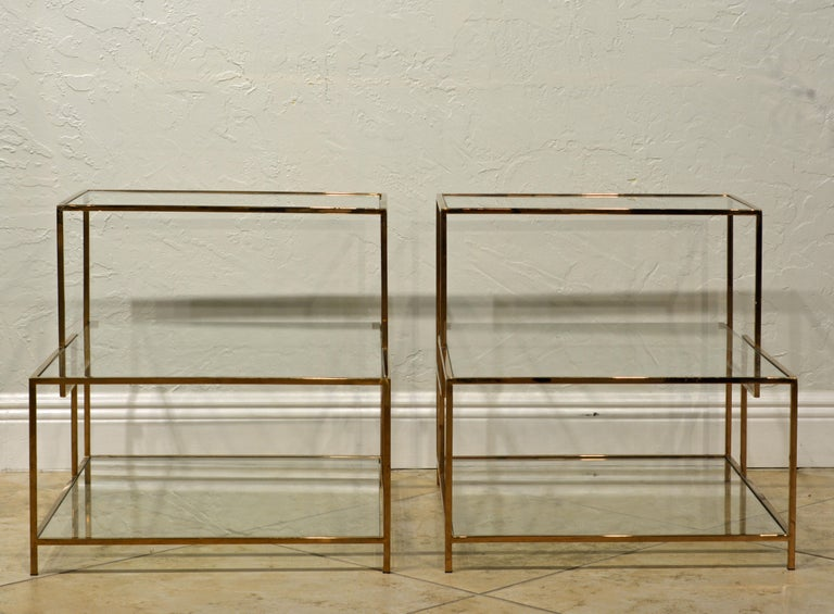 Bauhaus Pair of Minimalist Solid Brass and Glass Piet Mondrian Style Two Step End Tables
