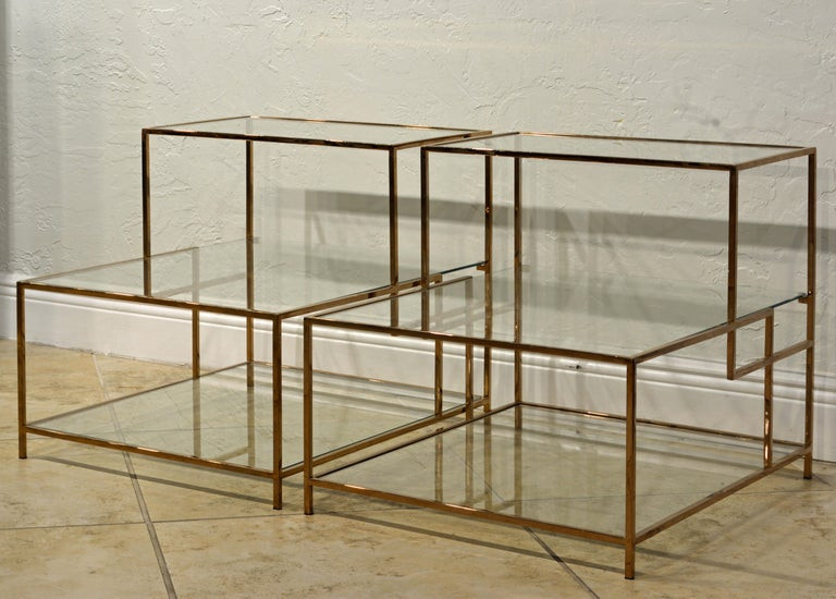 American Pair of Minimalist Solid Brass and Glass Piet Mondrian Style Two Step End Tables