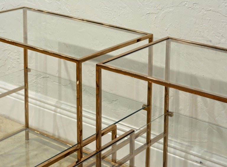 Pair of Minimalist Solid Brass and Glass Piet Mondrian Style Two Step End Tables In Good Condition In Ft. Lauderdale, FL