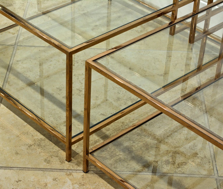 20th Century Pair of Minimalist Solid Brass and Glass Piet Mondrian Style Two Step End Tables For Sale
