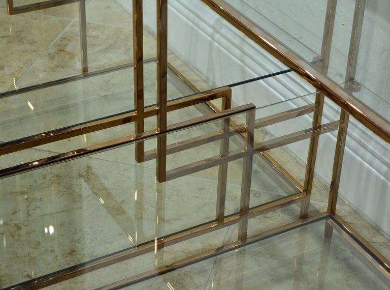 Pair of Minimalist Solid Brass and Glass Piet Mondrian Style Two Step End Tables 1