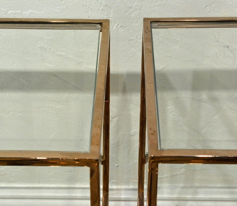 Pair of Minimalist Solid Brass and Glass Piet Mondrian Style Two Step End Tables 2