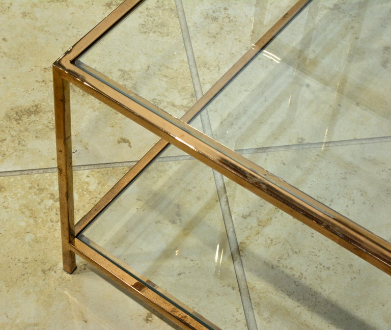 Pair of Minimalist Solid Brass and Glass Piet Mondrian Style Two Step End Tables 3