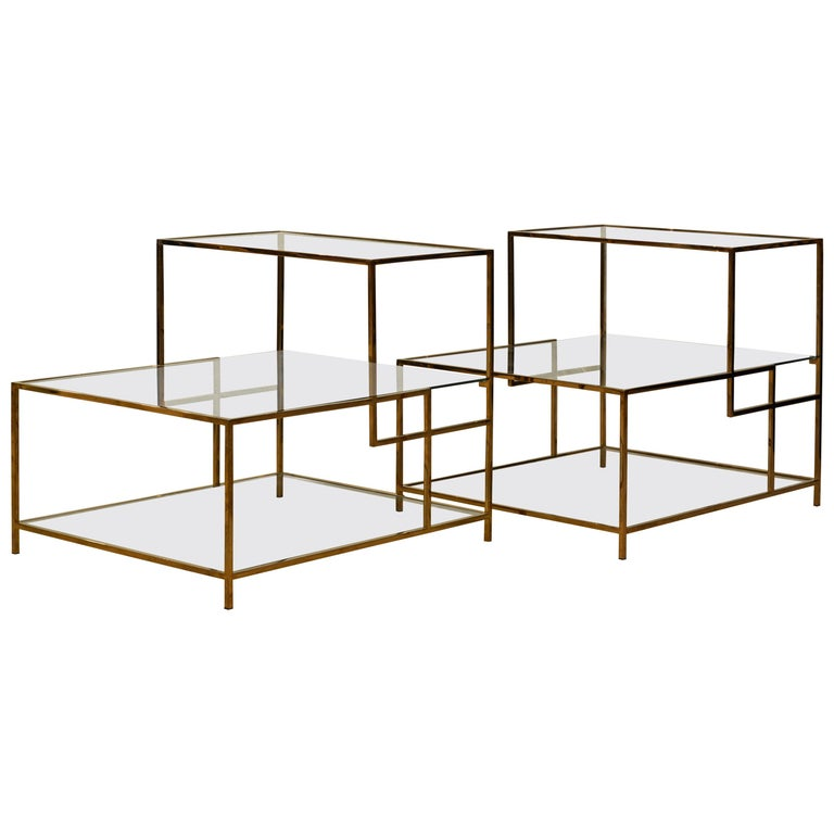 Pair of Minimalist Solid Brass and Glass Piet Mondrian Style Two Step End Tables