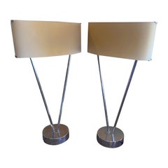 "Pair of Minimalist ""Vittoria"" Chrome Table Lamps by Leucos"