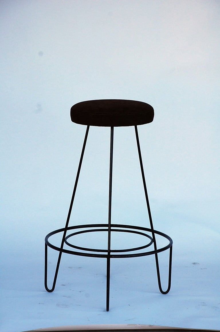 Pair Of Minimalistic Bar Stools With Brown Suede Seats For