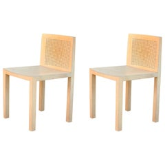Pair of Minimalistic Beechwood Side Chairs