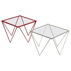 Pair of Minimalistic Nesting Tables in White and Red Lacquered Metal