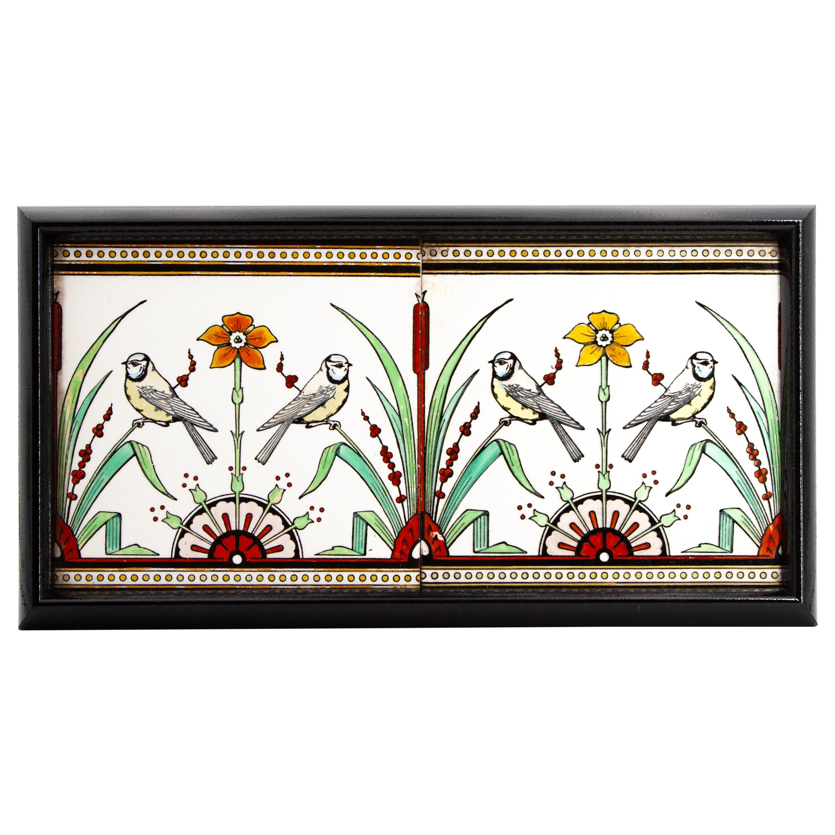 Pair of Minton Bird Tiles Designed by Christopher Dresser, circa 1875
