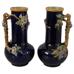 Pair of Minton Majolica Berry and Blossom Vases with Handles