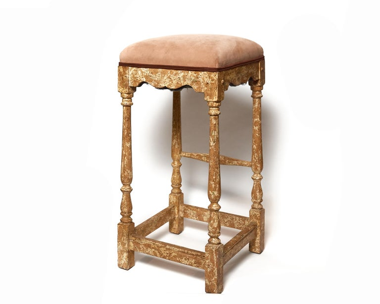 Nice pair of vintage Minton-Spidell barstools finished in an original hand painted applied custom finish which they are known for. Upholstered in a muted blush toned velveteen. Labels are on bottom of seat. Stools are sturdy and without issue.
